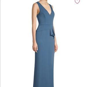 BCBG V-Neck Peplum Gown